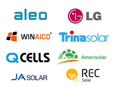 Solceller fra Aleo Solar, LG. Winaico, Q Cells, JA Solar, Trina Solar, REC Solar, Amerisolar